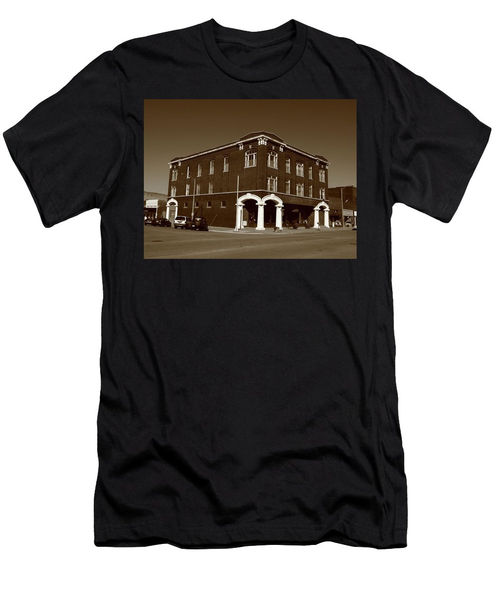 Abilene Men's T-Shirt (Athletic Fit) featuring the photograph Abilene Kansas - Spruce And 3rd Sepia by Frank Romeo