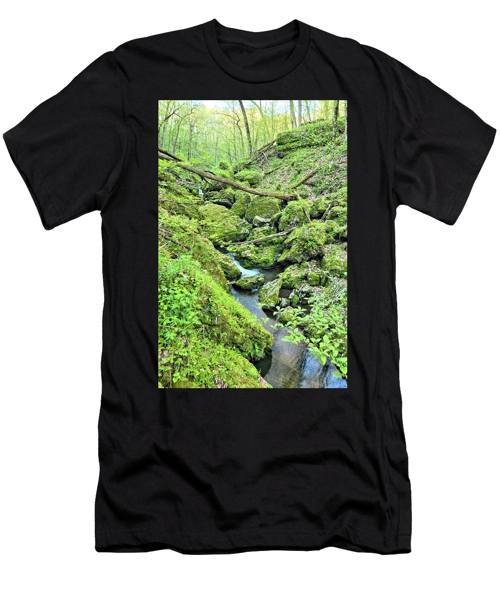 Mossy Men's T-Shirt (Athletic Fit) featuring the photograph Above Moine Creek 2 by Bonfire Photography