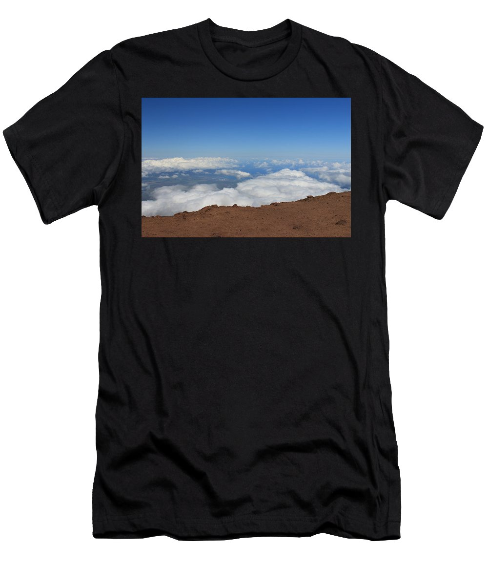 Haleakala Summit Crater Volcano Maui Hawaii Men's T-Shirt (Athletic Fit) featuring the photograph Above The Clouds by Christopher Lefor