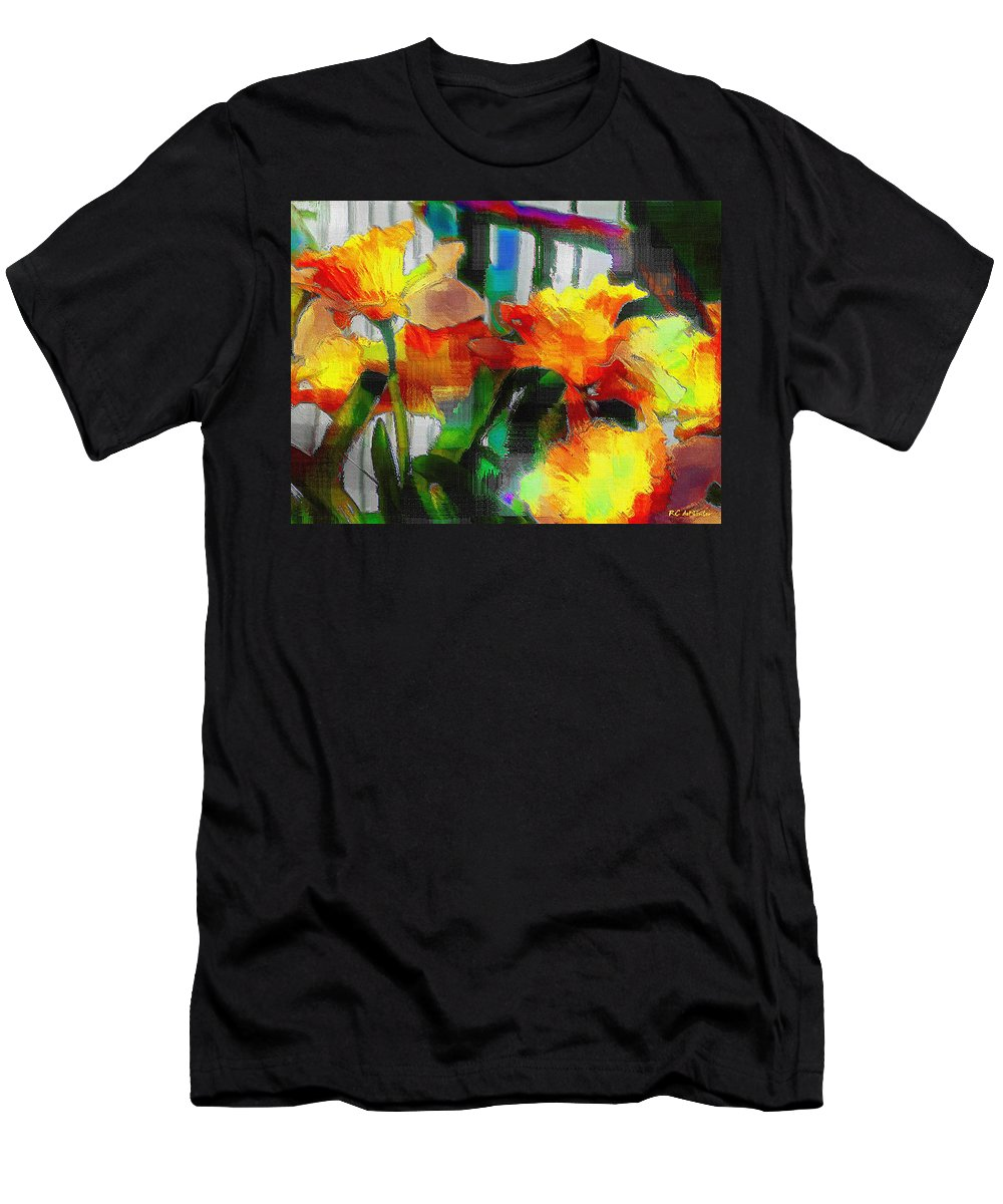 Absinthe Men's T-Shirt (Athletic Fit) featuring the painting Absinthe Daffies by RC DeWinter