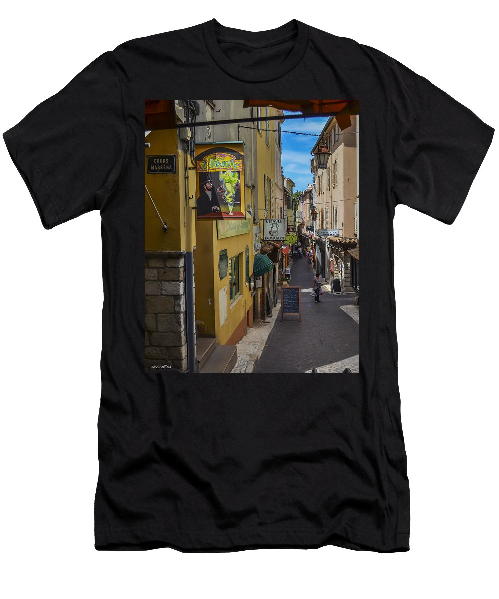 Antibes Men's T-Shirt (Athletic Fit) featuring the photograph Absinthe In Antibes by Allen Sheffield