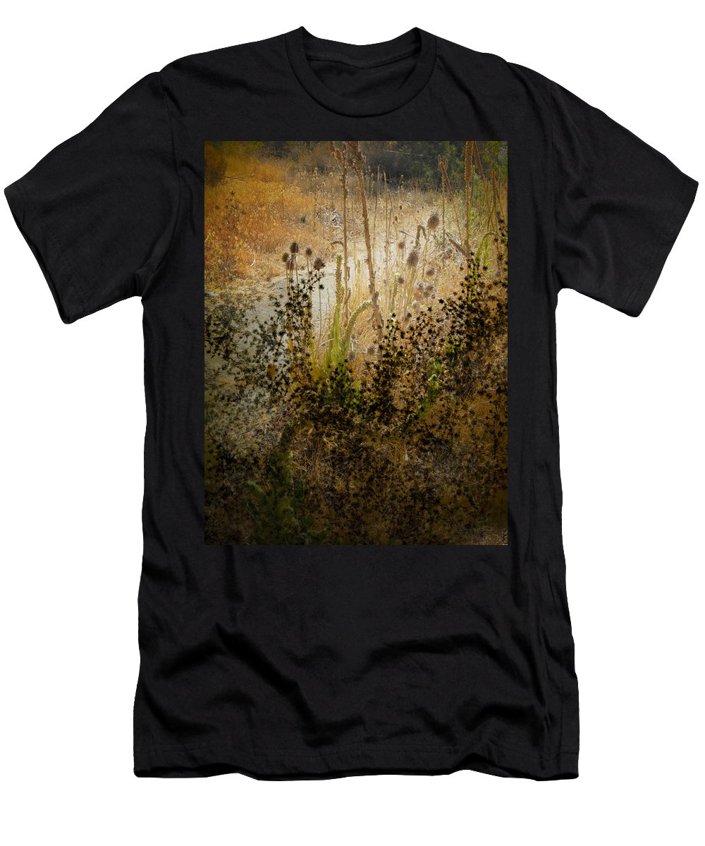 Landscape Men's T-Shirt (Athletic Fit) featuring the photograph Abstract - Burning Bush by Karen W Meyer