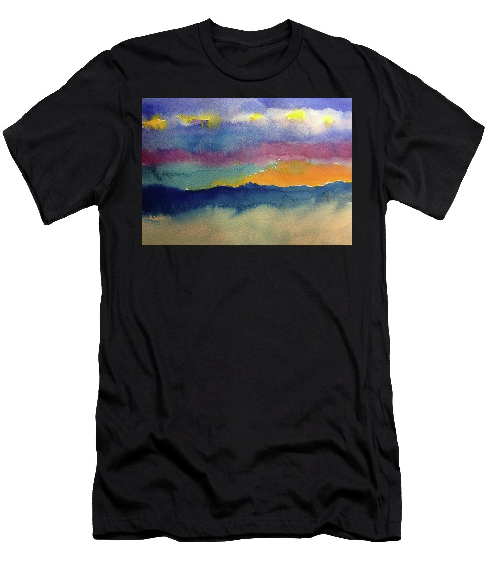 Abstract Men's T-Shirt (Athletic Fit) featuring the painting Peaking by Bonny Butler