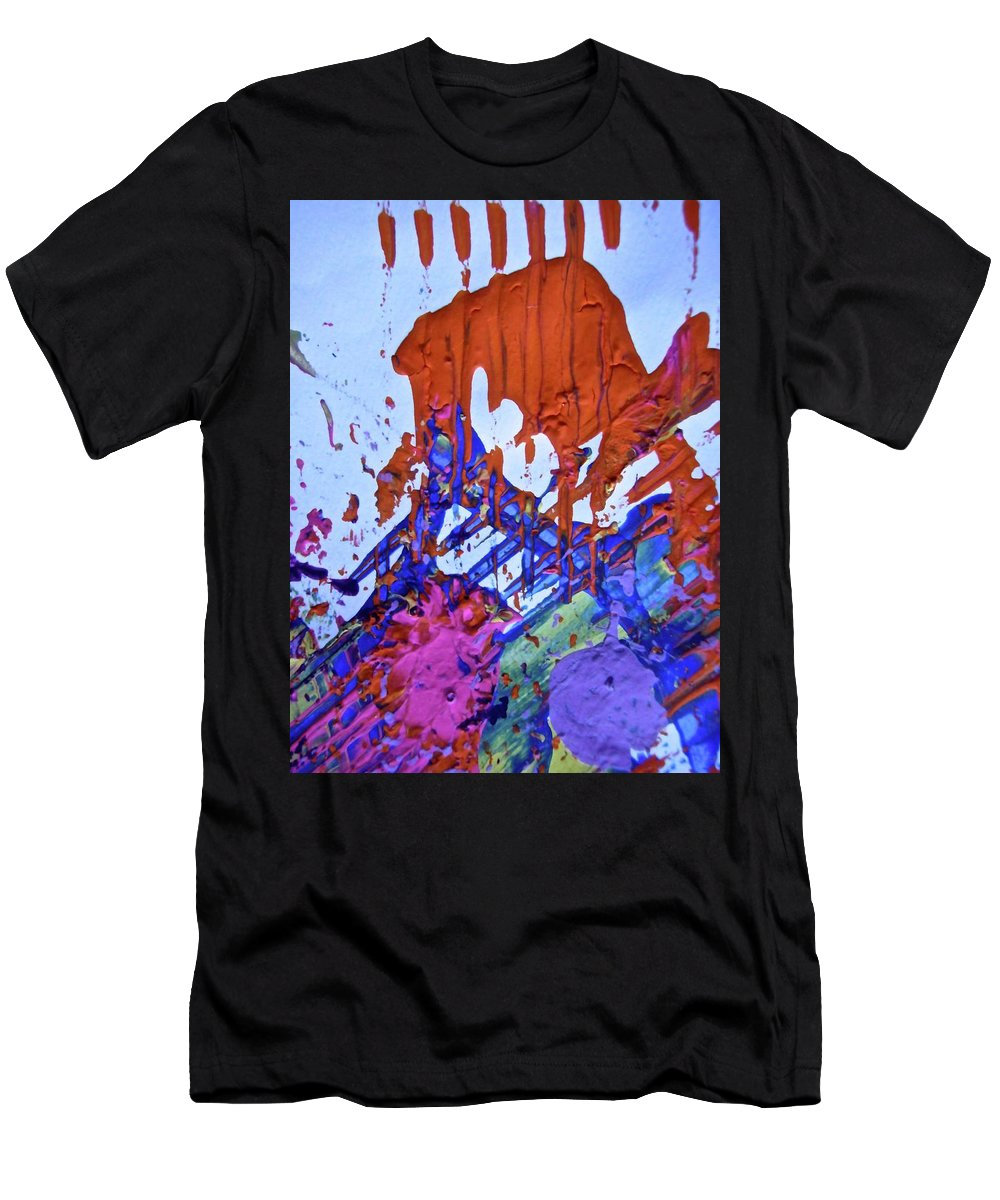 Red Men's T-Shirt (Athletic Fit) featuring the painting Abstract 6497 by Stephanie Moore