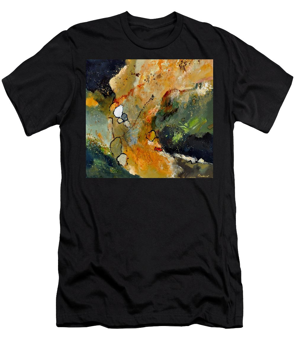 Abstract Men's T-Shirt (Athletic Fit) featuring the painting Abstract 66018012 by Pol Ledent