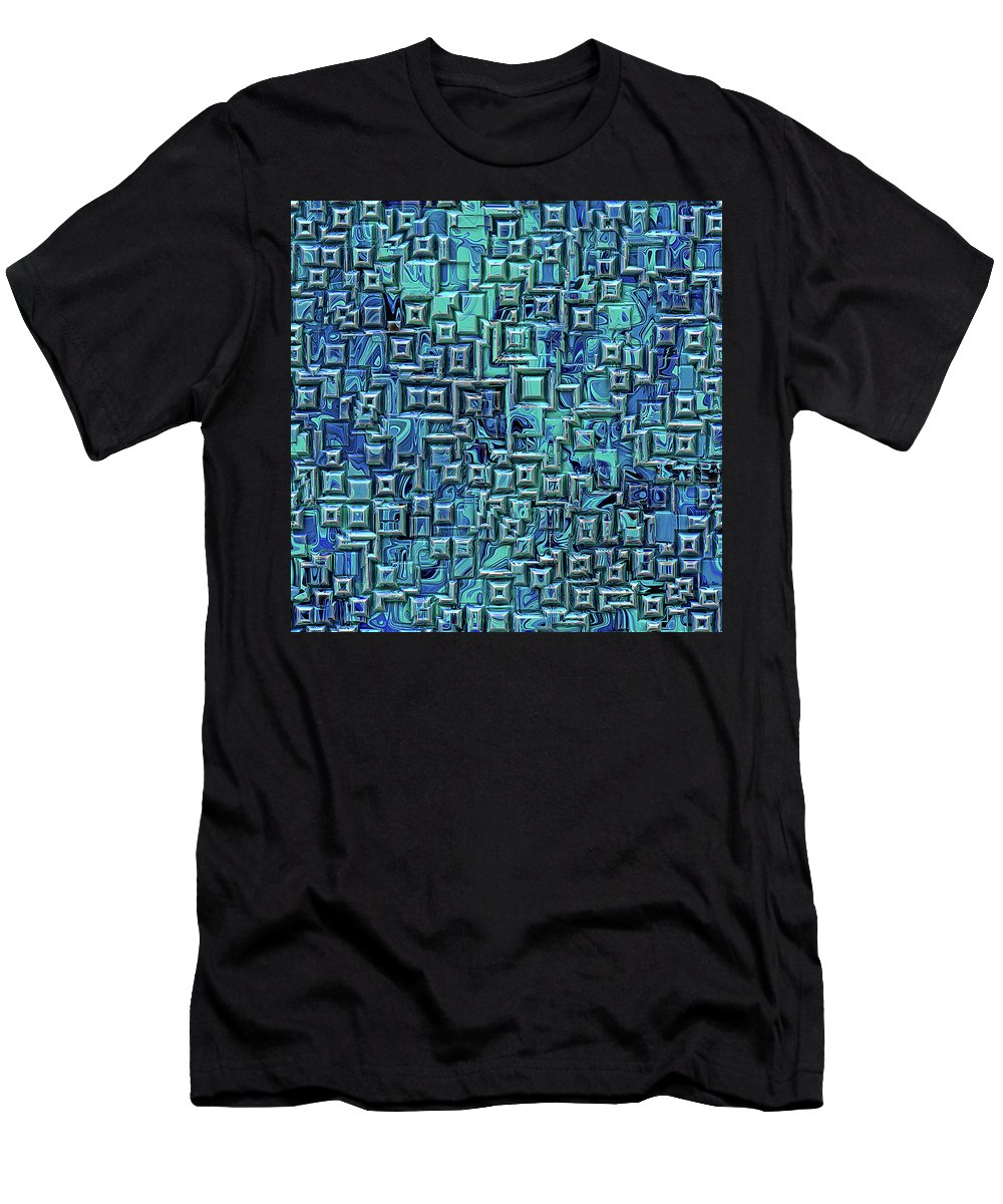 Three Dimensional Men's T-Shirt (Athletic Fit) featuring the digital art Abstract Blue And Green Pattern by Phil Perkins