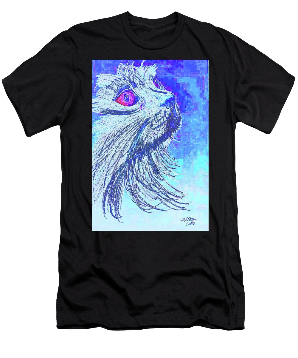 Abstract Men's T-Shirt (Athletic Fit) featuring the digital art Abstract Blue Cat by Scott D Van Osdol
