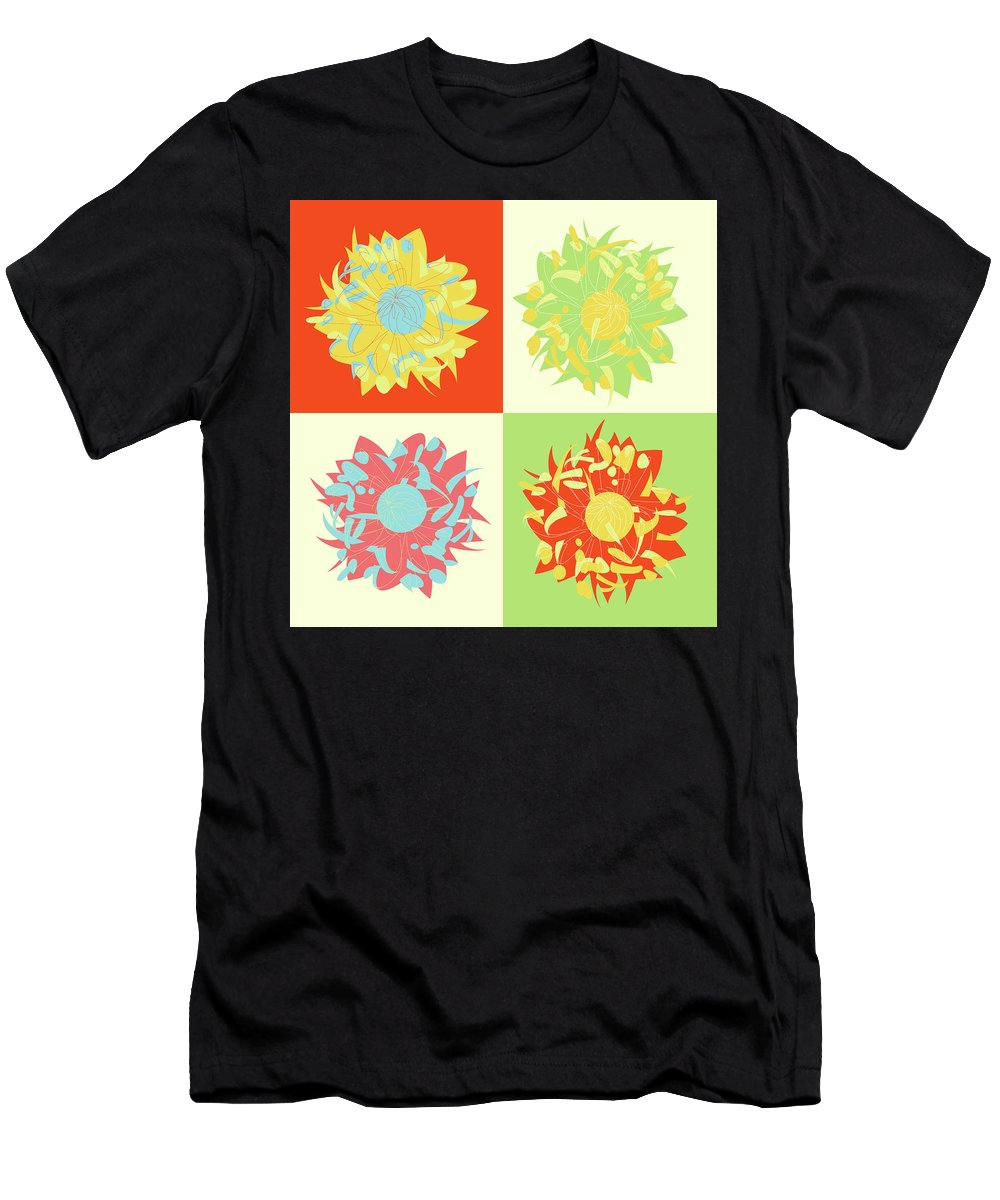 Gala Sofie Kuhn T-Shirt featuring the digital art Abstract Chrysanthemums by Gala Sofie Kuhn