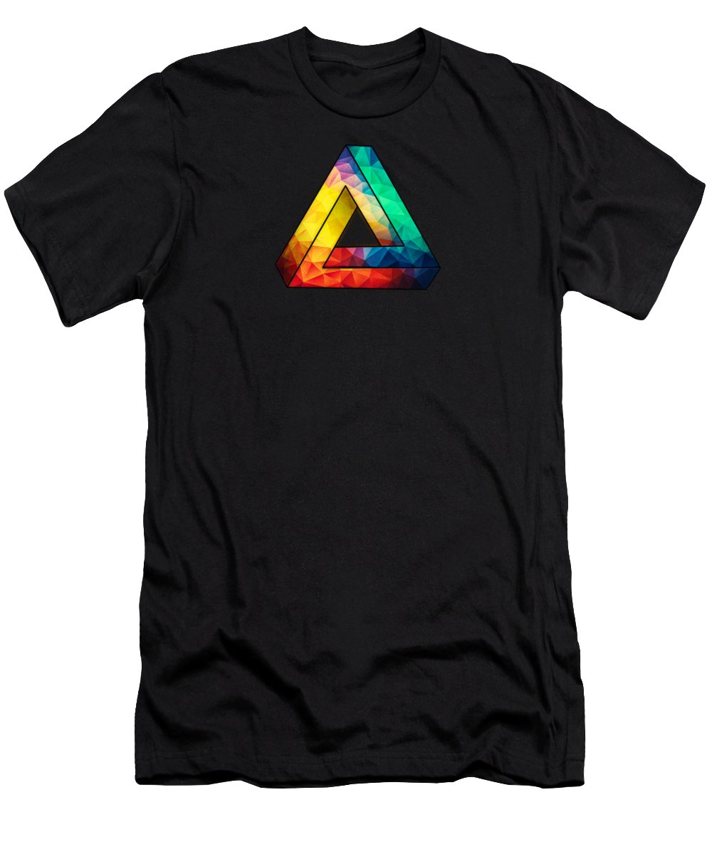 Abstract Men's T-Shirt (Athletic Fit) featuring the digital art Abstract Color Wave Flash by Philipp Rietz