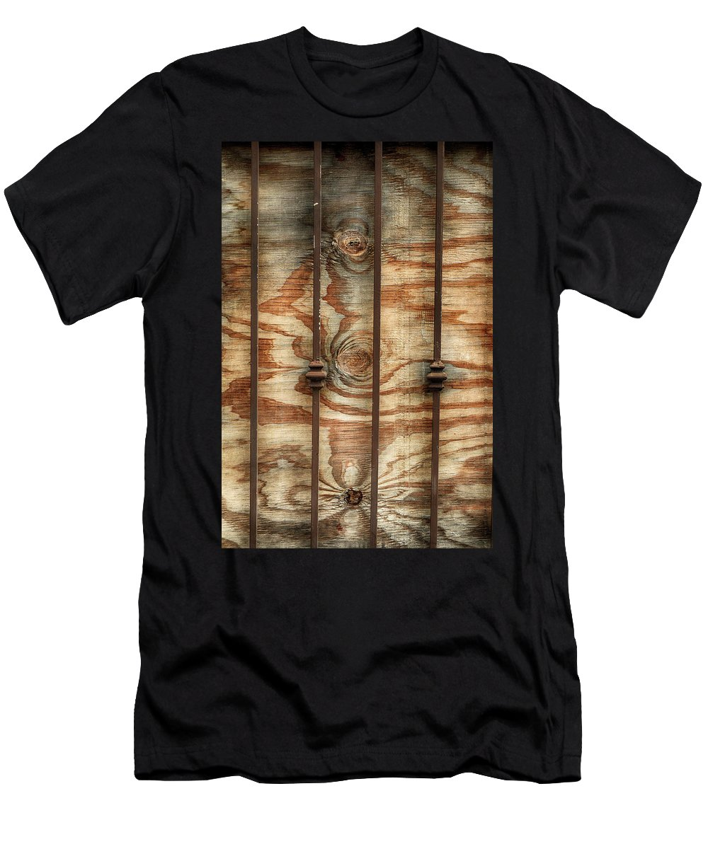 Wooden Men's T-Shirt (Athletic Fit) featuring the photograph Abstract Construction Art by Cate Franklyn