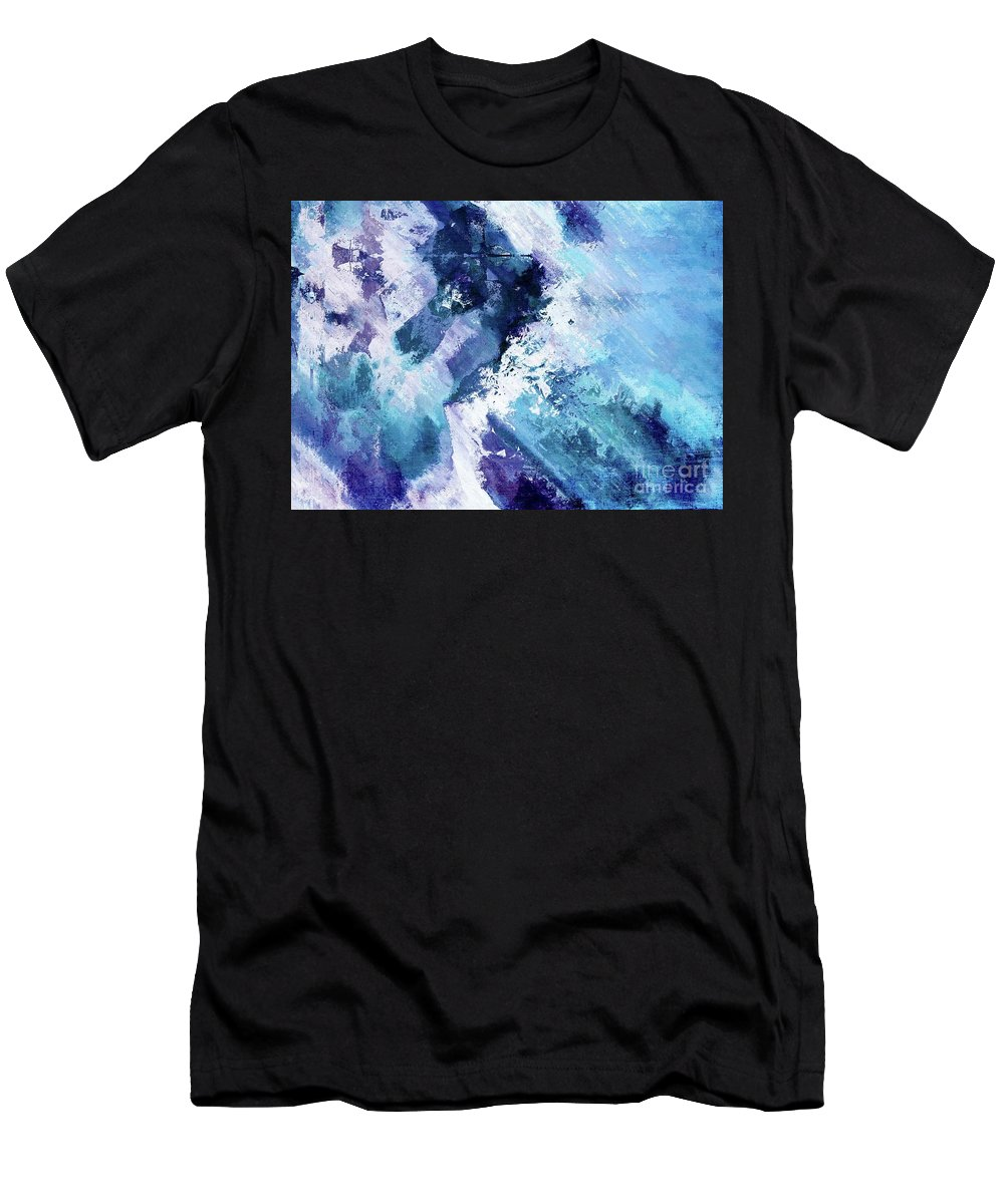 Blue Men's T-Shirt (Athletic Fit) featuring the digital art Abstract Division - 72t02 by Variance Collections