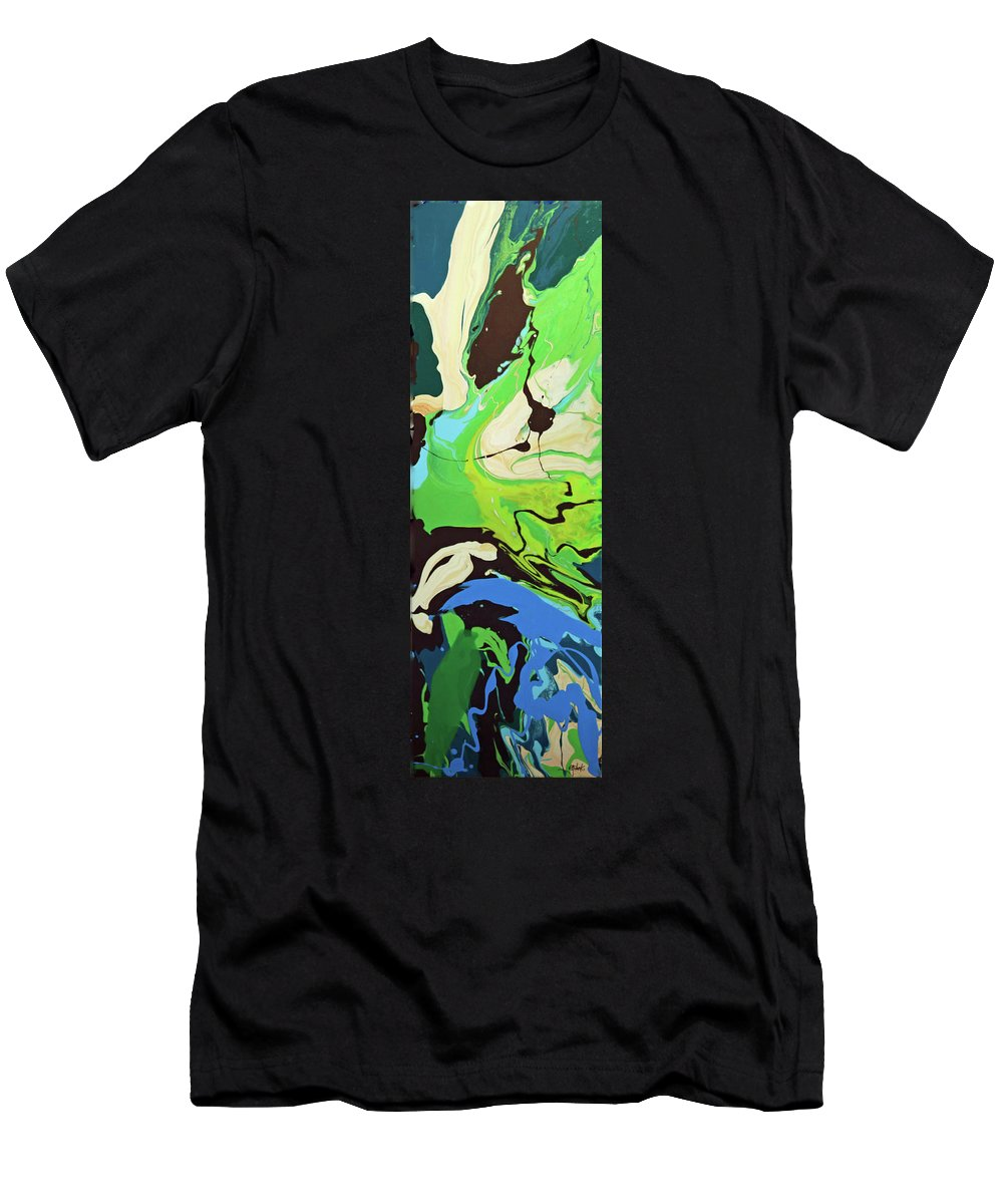 Abstract Men's T-Shirt (Athletic Fit) featuring the painting Abstract Flow Green-blue Series No.3 by Carole Sluski