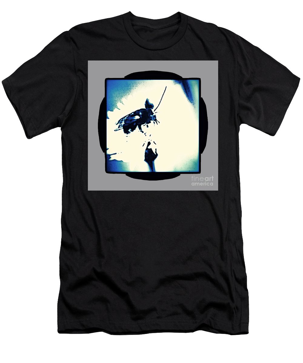 Black Men's T-Shirt (Athletic Fit) featuring the photograph Abstract Look Of Bee On White Flower by Debra Lynch