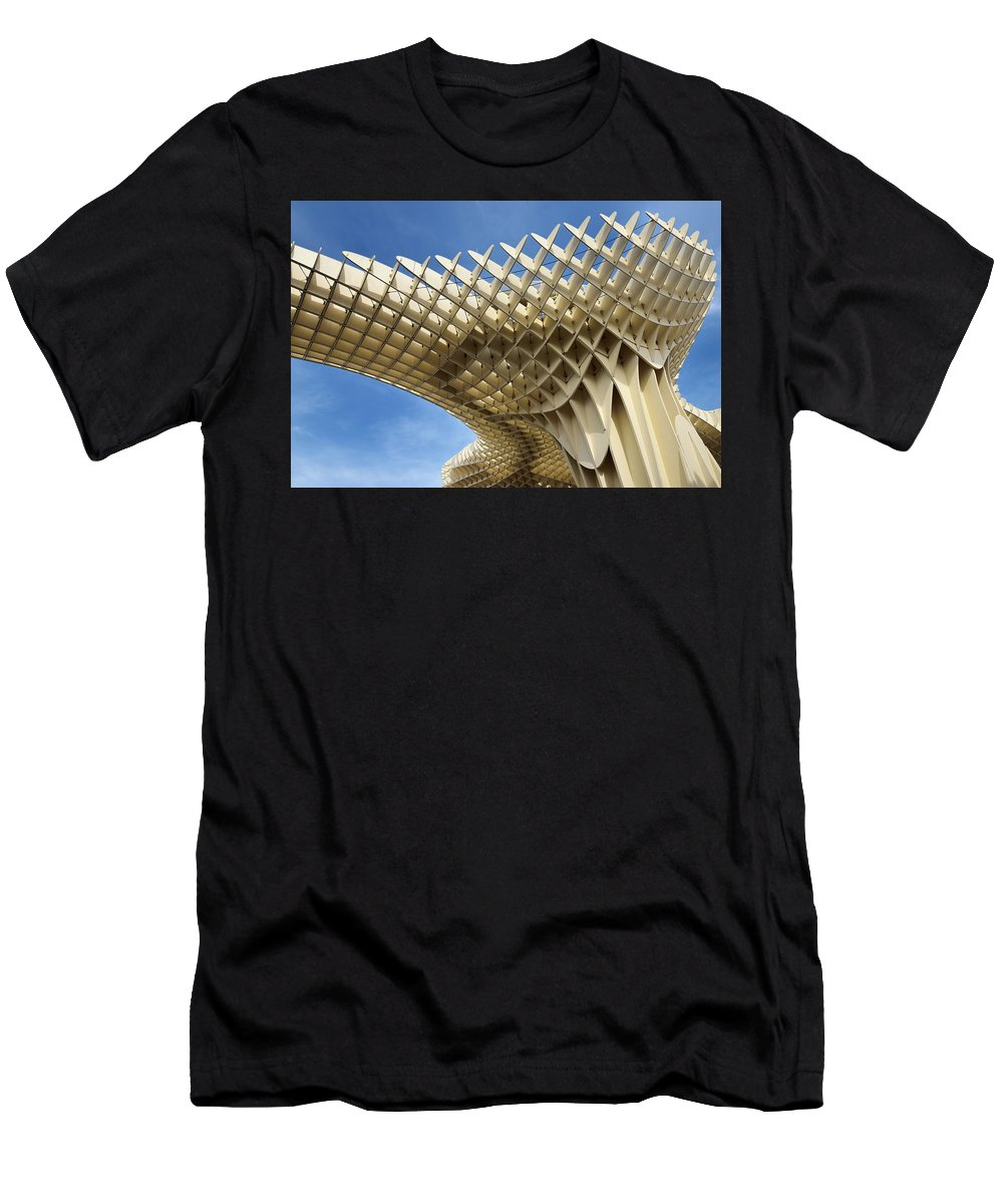 Sky Men's T-Shirt (Athletic Fit) featuring the photograph Abstract Of Metropol Parasol Pod At Plaza Of The Incarnation Sev by Reimar Gaertner