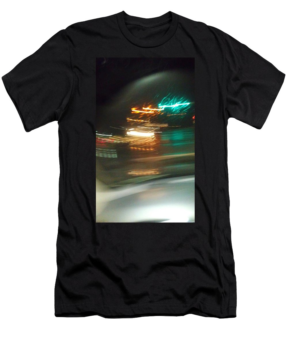 Traffic Men's T-Shirt (Athletic Fit) featuring the photograph Abstract Of Racing Cars by Donna Riordan