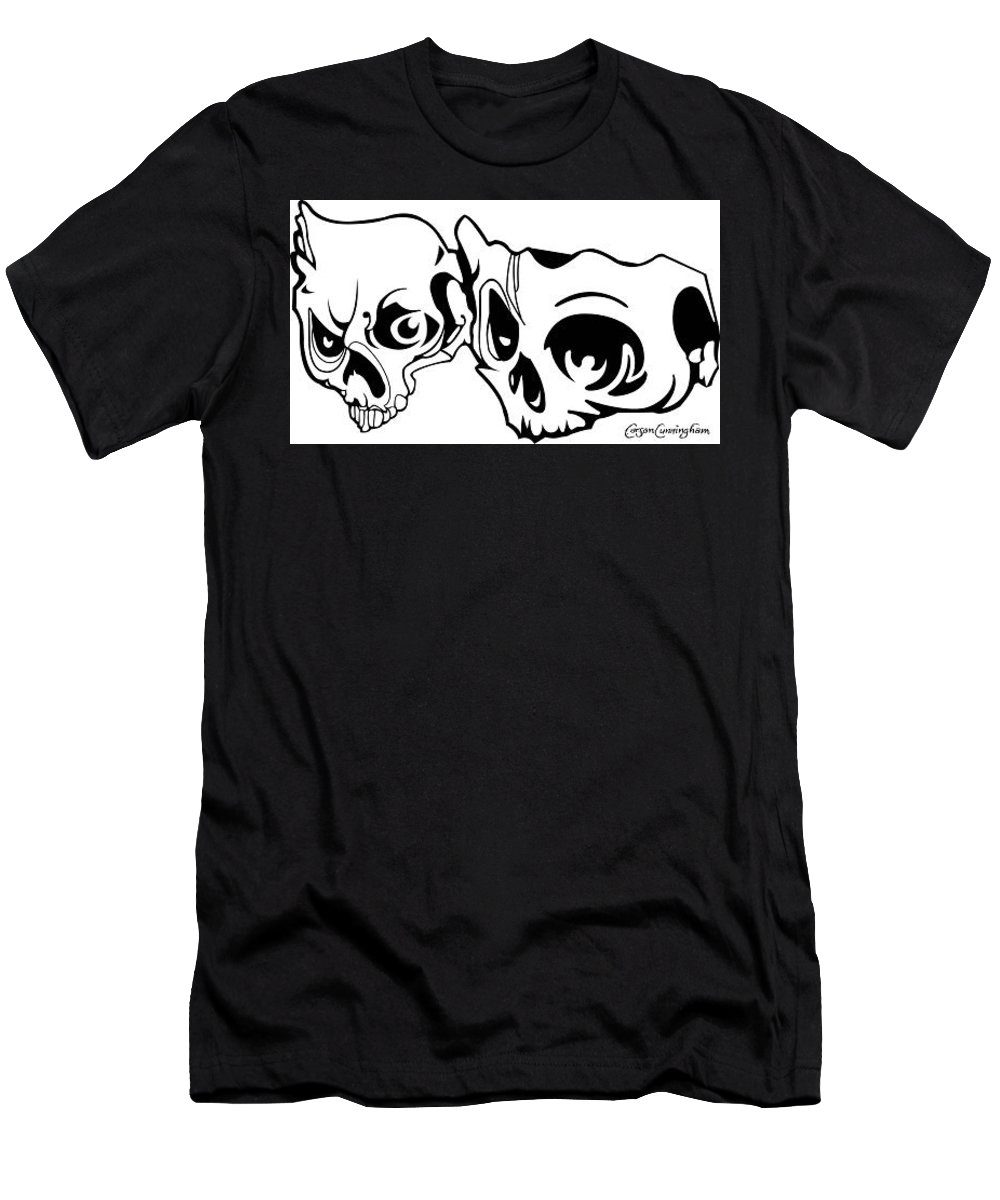 Skull Men's T-Shirt (Athletic Fit) featuring the digital art Abstract Skulls by Carson Cunningham