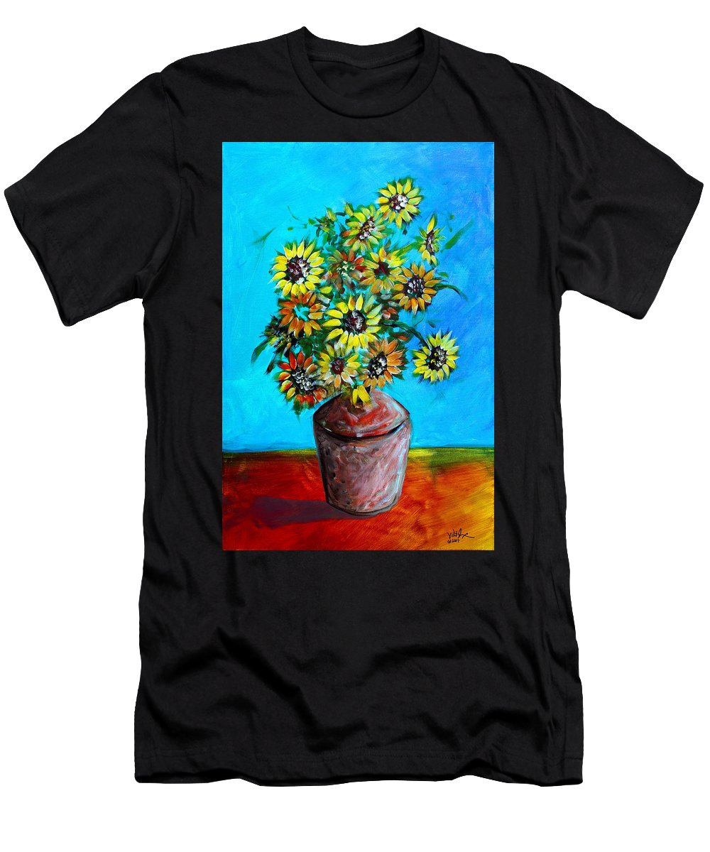 Sunflower Men's T-Shirt (Athletic Fit) featuring the painting Abstract Sunflowers W/vase by J Vincent Scarpace