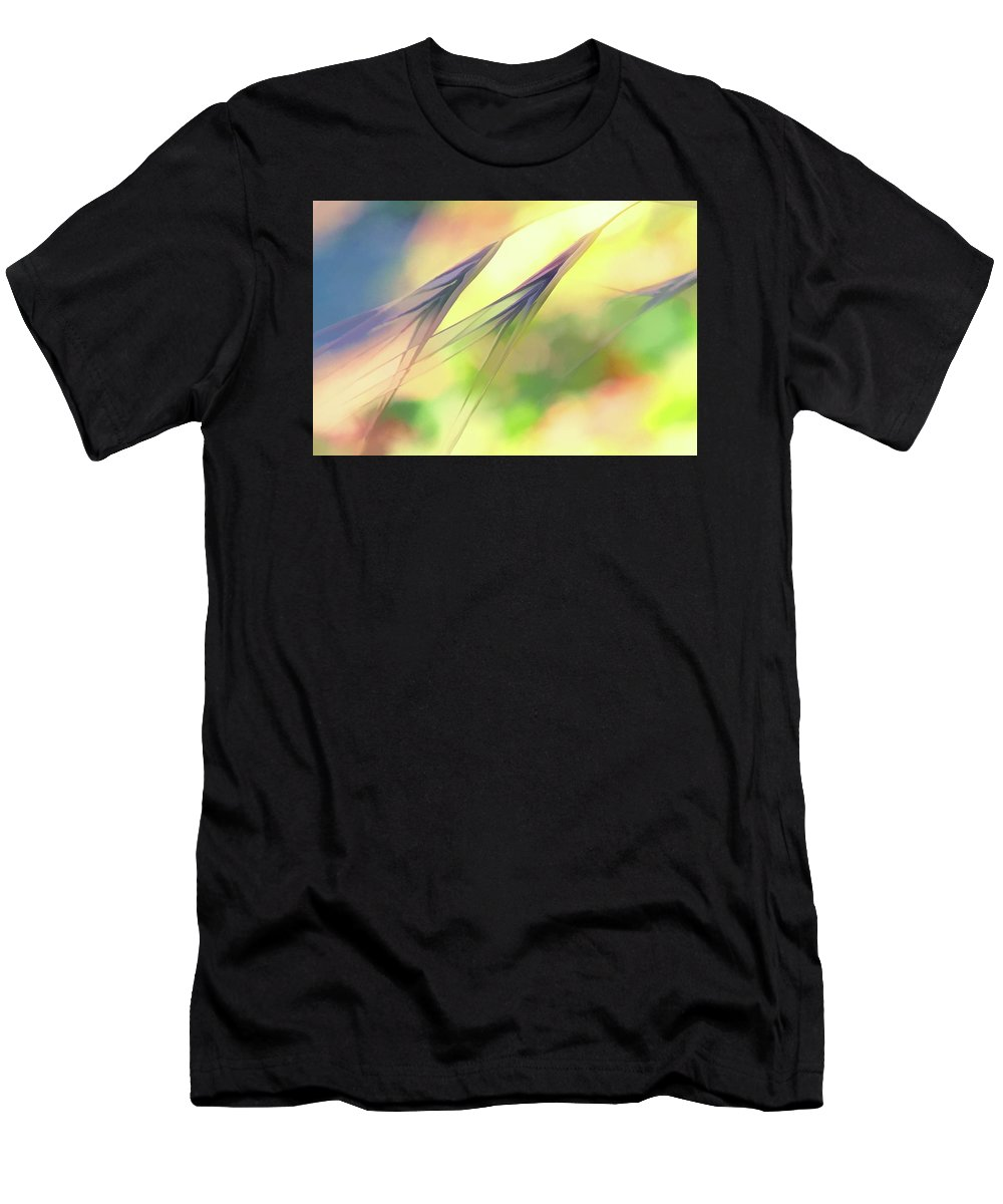 Weeds Men's T-Shirt (Athletic Fit) featuring the digital art Abstract Weeds Yellow by Terry Davis