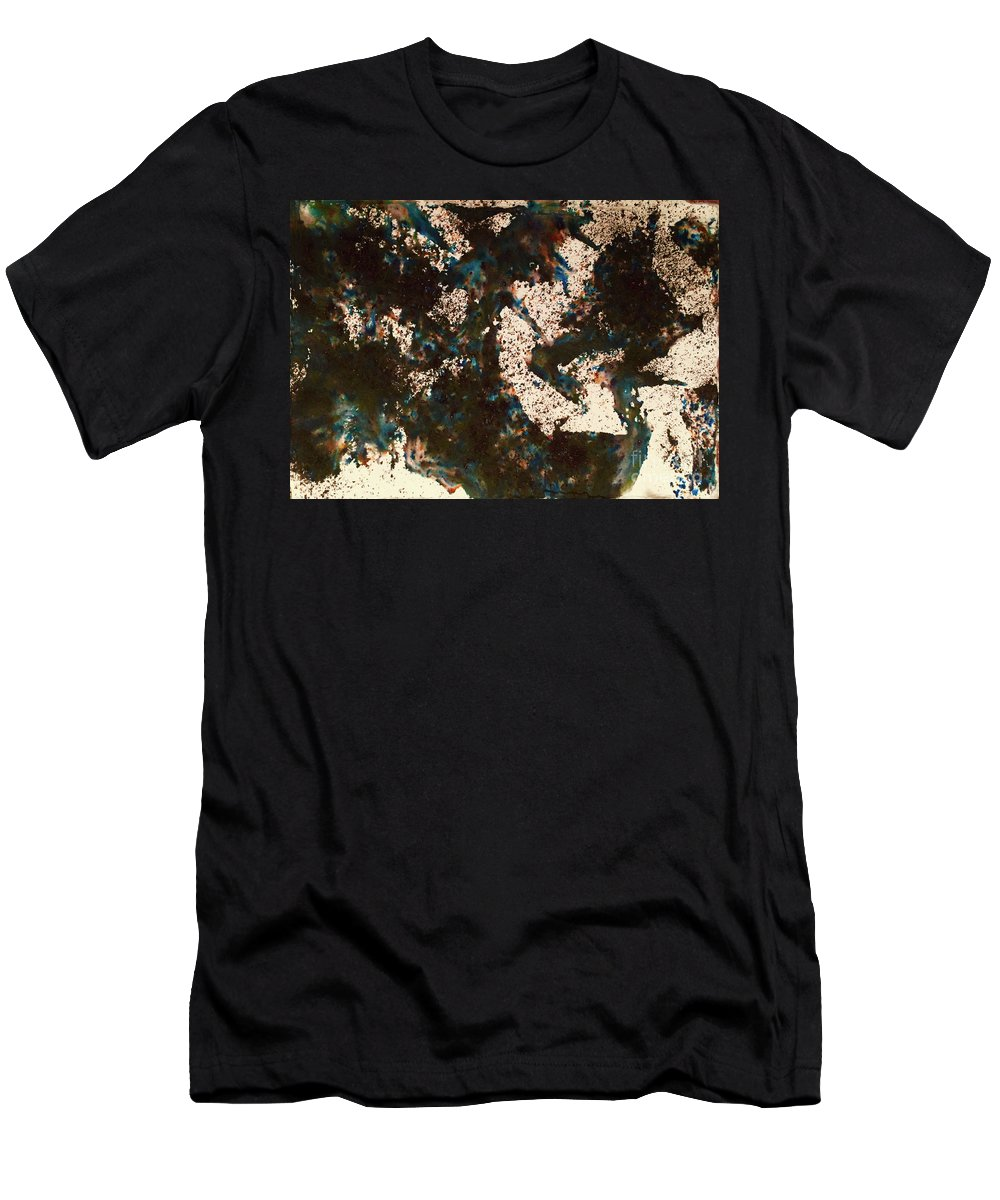 Brown Men's T-Shirt (Athletic Fit) featuring the painting Abstract.3740 by Linda Stout
