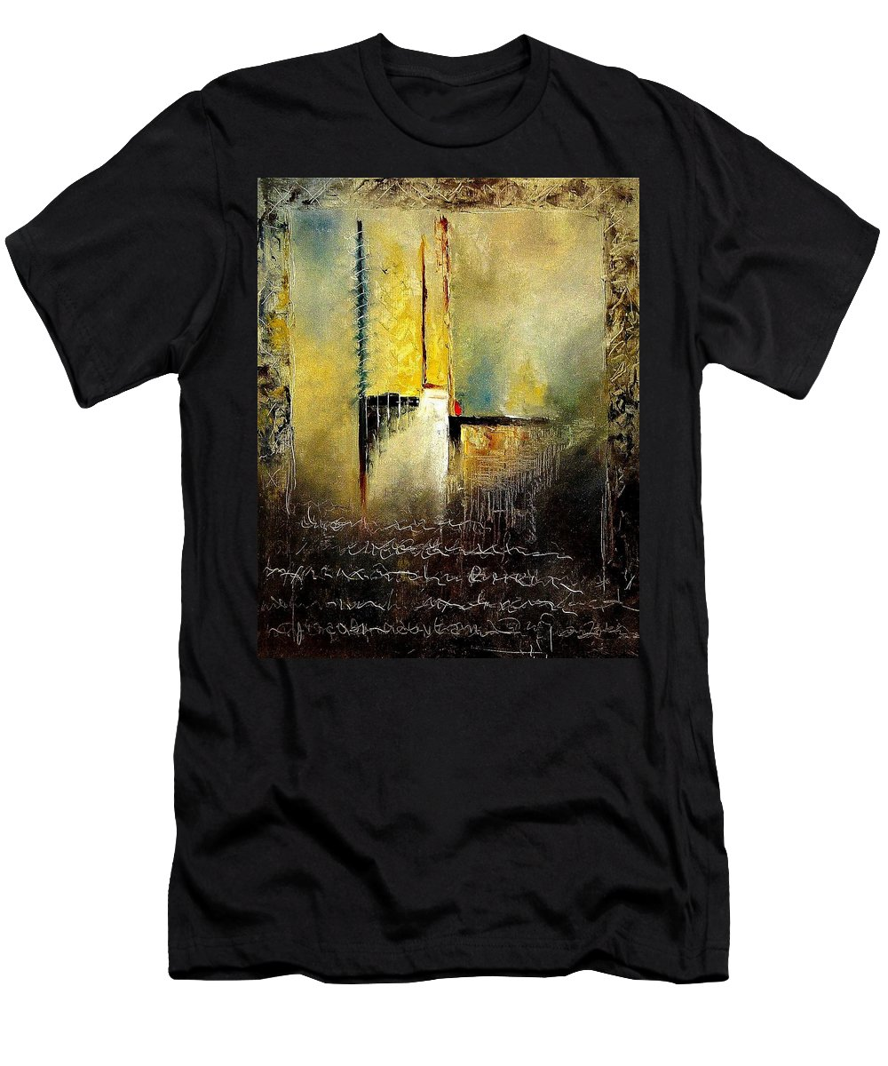 Abstract Men's T-Shirt (Athletic Fit) featuring the painting Abstrct 3 by Pol Ledent