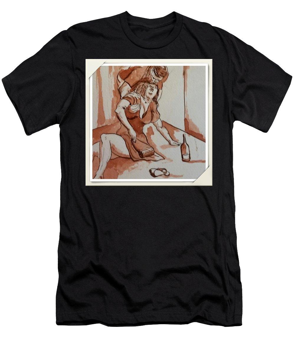 Drunken Female Drinking Girl Woman Drunk Drunks Emotion Men's T-Shirt (Athletic Fit) featuring the drawing Drunken Wife by GW Smith