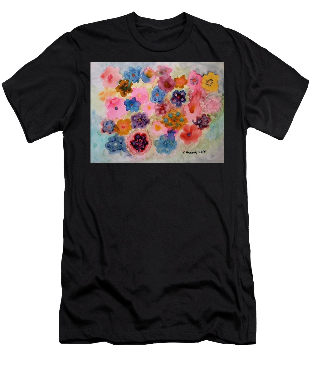 Flowers Men's T-Shirt (Athletic Fit) featuring the painting Abundance by B Kathleen Fannin