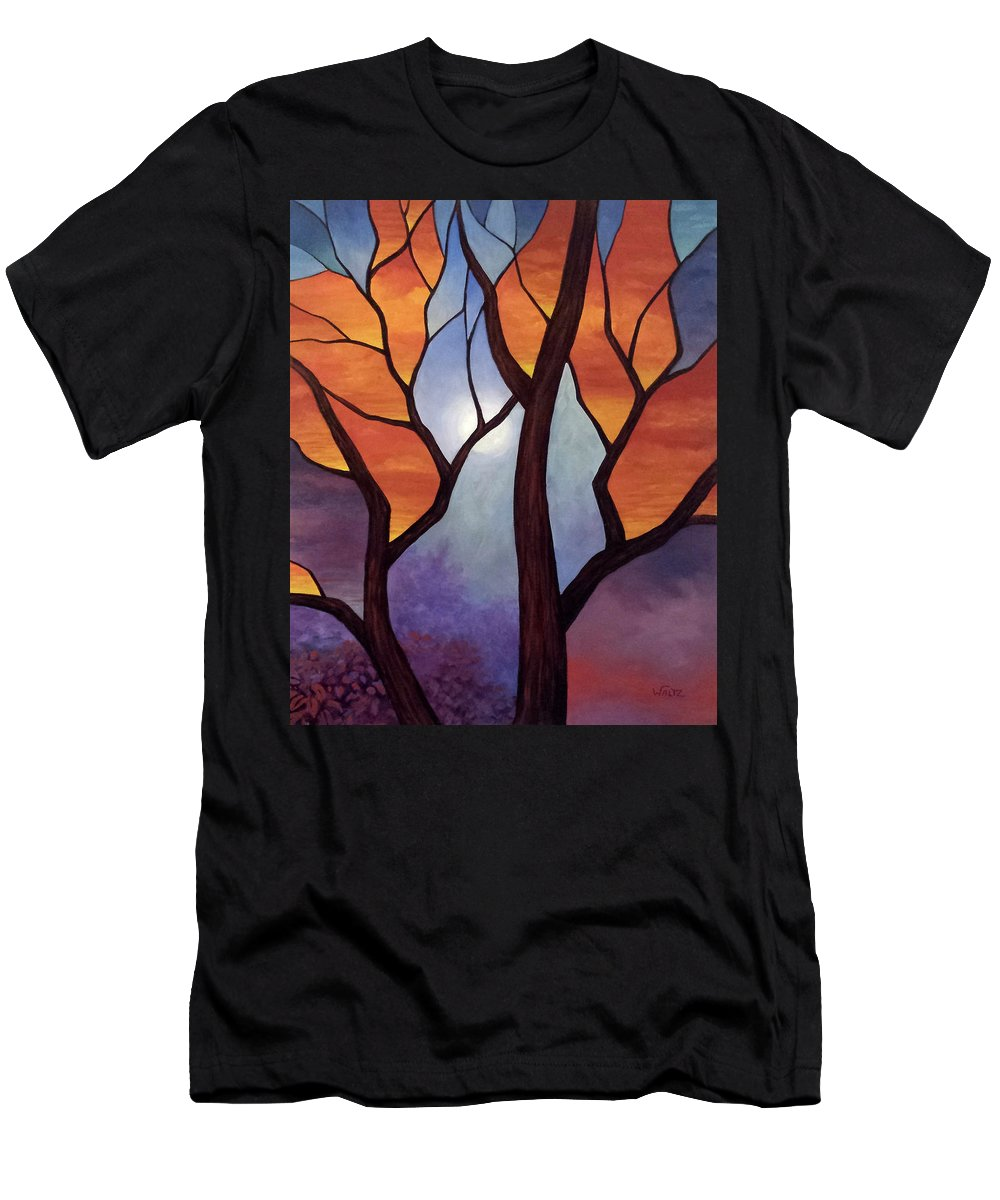 Stained Glass Style Painting Tree Sunset Orange Red Blue Purple Men's T-Shirt (Athletic Fit) featuring the painting Abyss Of Aether by Beth Waltz