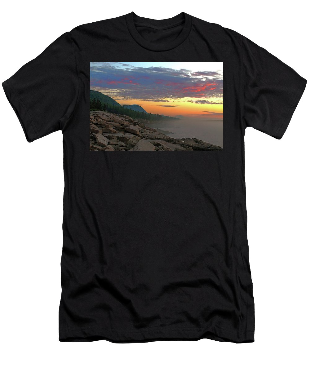 Acadia National Park Men's T-Shirt (Athletic Fit) featuring the photograph Acadia Sunrise by Jeff Heimlich