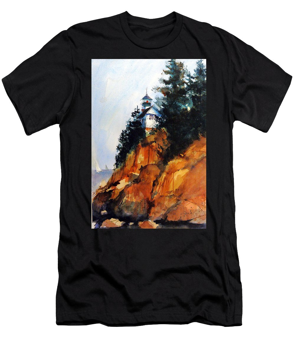 Acadia. Acadian T-Shirt featuring the painting Acadian Lighthouse by Charles Rowland