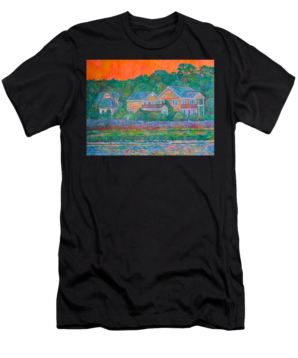 Landscape Men's T-Shirt (Athletic Fit) featuring the painting Across The Marsh At Pawleys Island    by Kendall Kessler