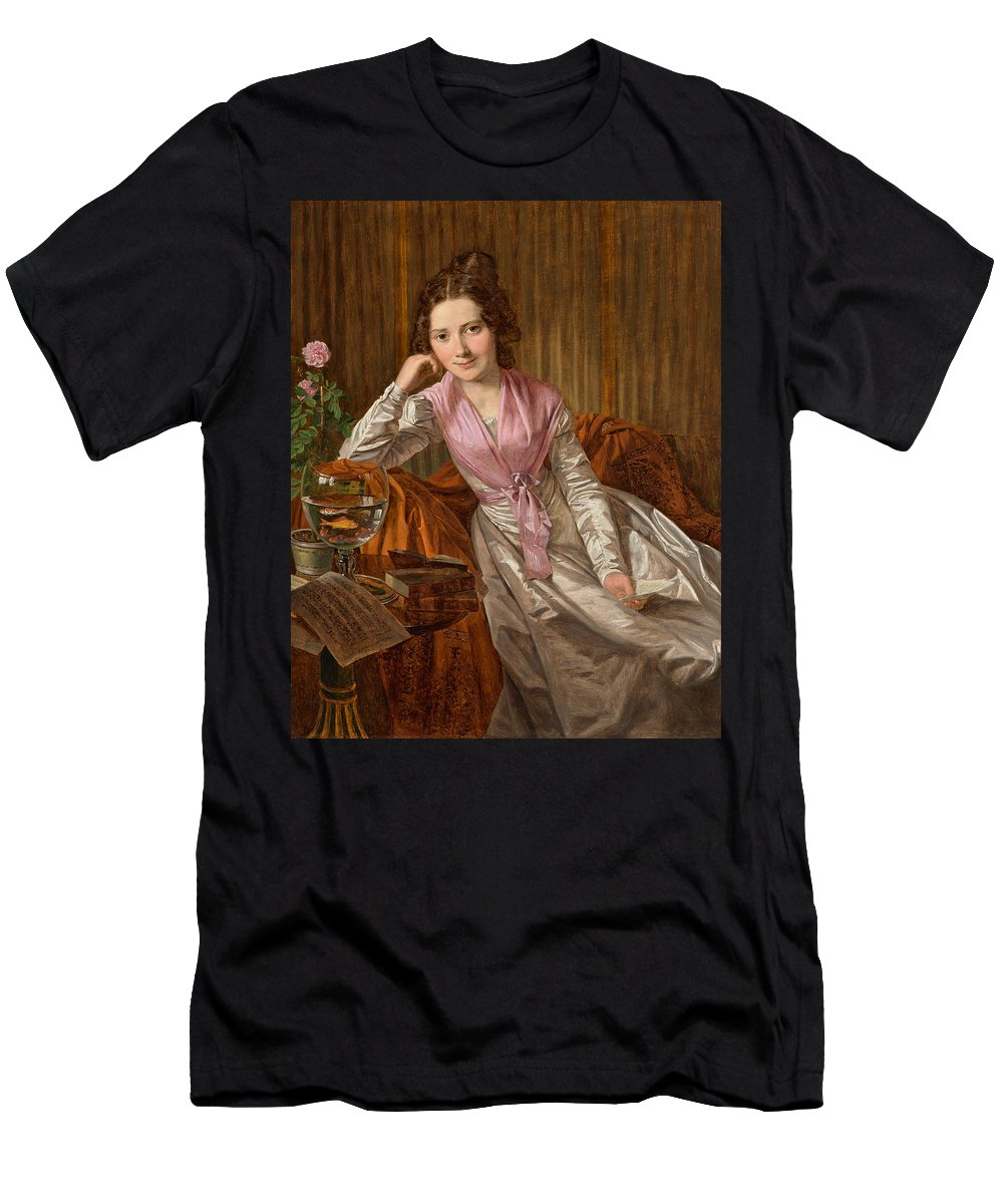 Ferdinand Georg Waldmuller Men's T-Shirt (Athletic Fit) featuring the painting Actress Therese Krones by Ferdinand Georg Waldmuller