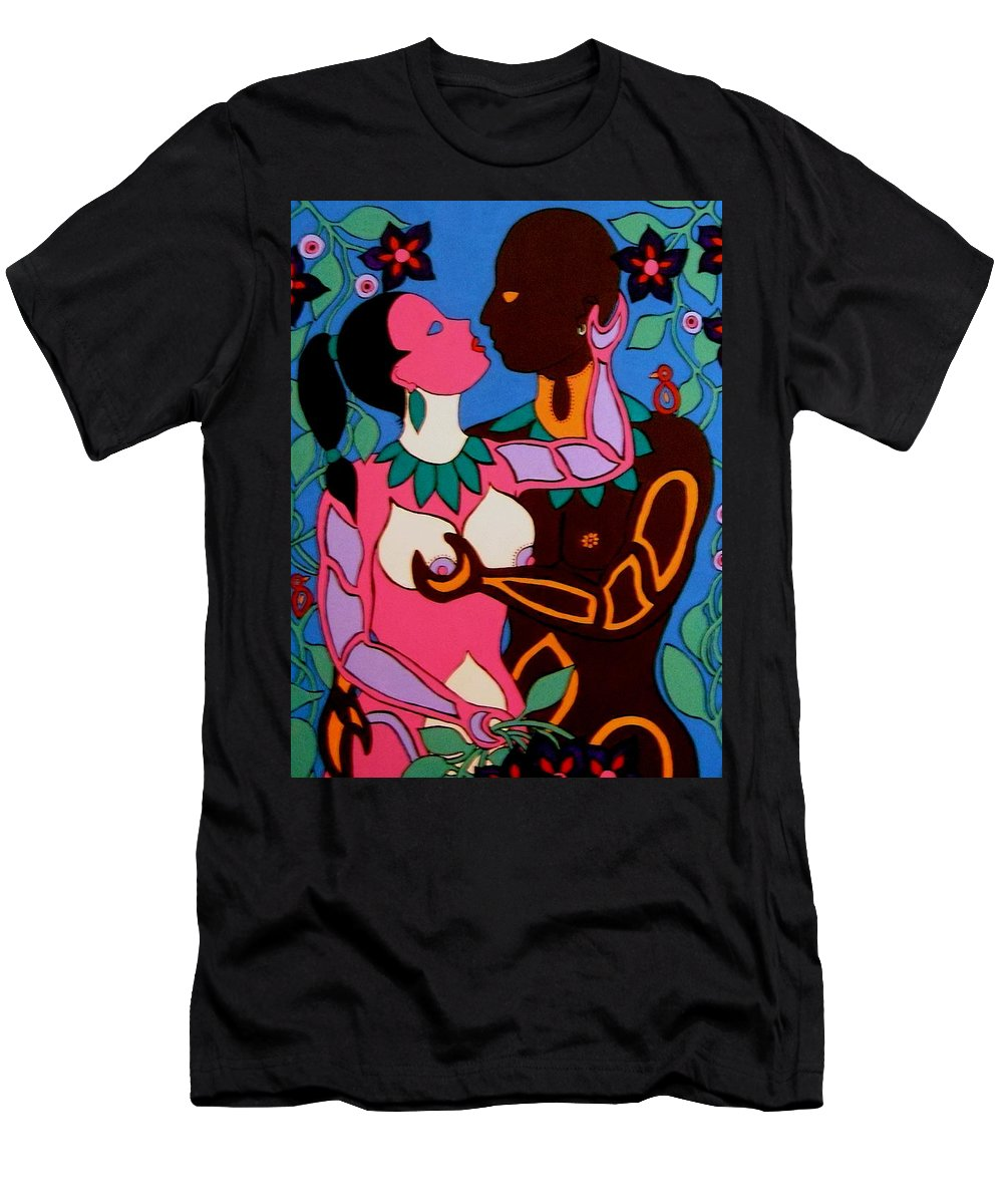 Eve Men's T-Shirt (Athletic Fit) featuring the painting Adam And Eve by Stephanie Moore