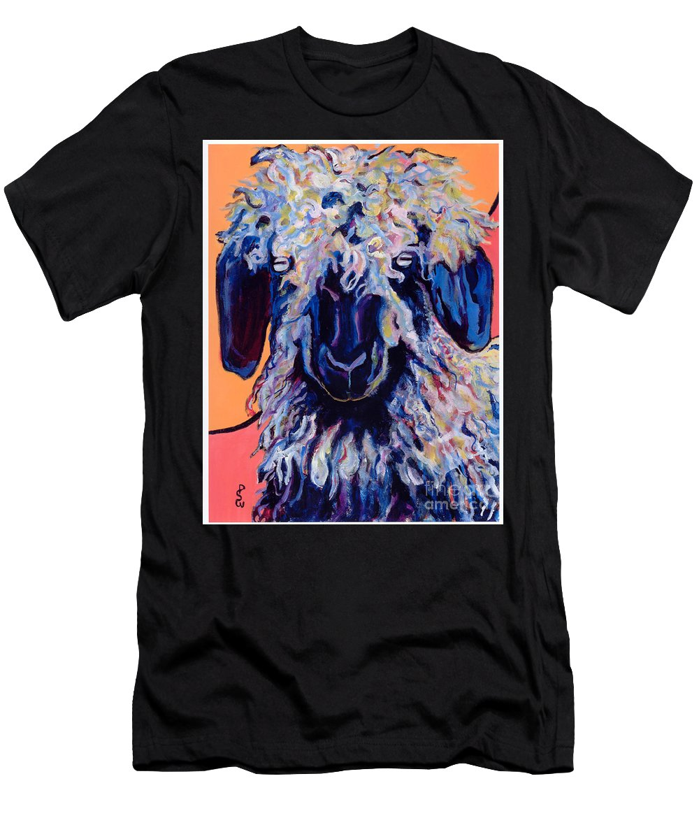 Goat Print Men's T-Shirt (Athletic Fit) featuring the painting Adelita  by Pat Saunders-White
