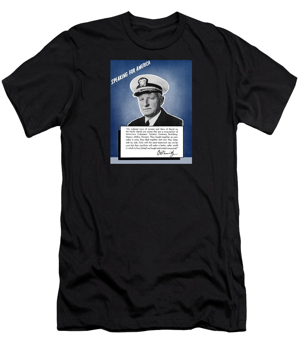 Navy Men's T-Shirt (Athletic Fit) featuring the painting Admiral Nimitz Speaking For America by War Is Hell Store