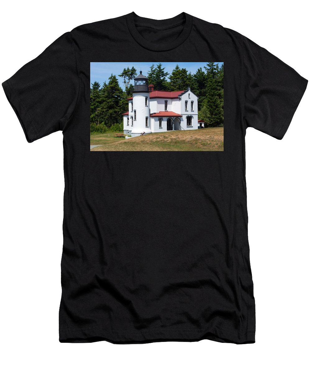 Coupeville Men's T-Shirt (Athletic Fit) featuring the photograph Admiralty Head Lighthouse by Linda Kerkau