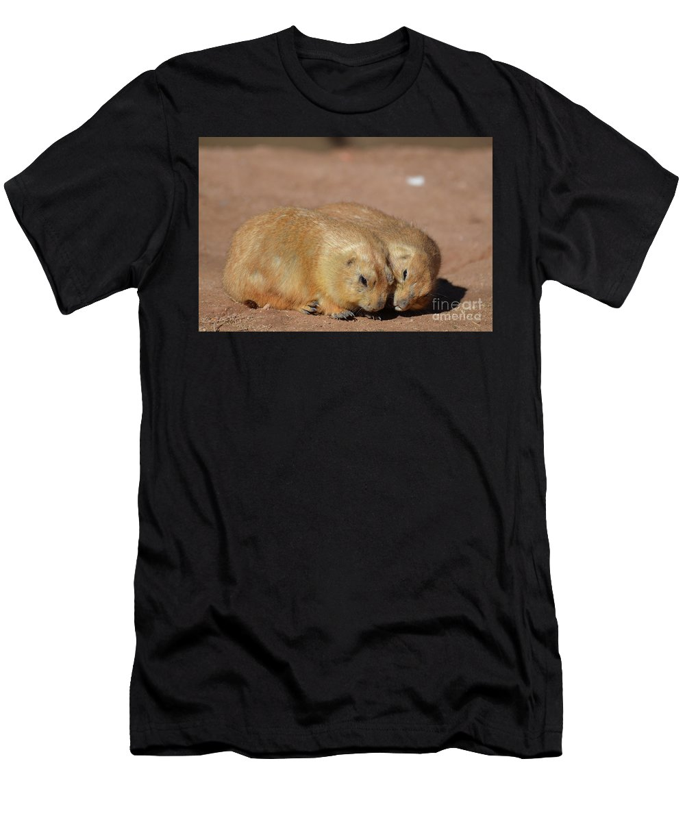 Prairie-dog Men's T-Shirt (Athletic Fit) featuring the photograph Adorable Pair Of Prairie Dogs Cuddling Together by DejaVu Designs