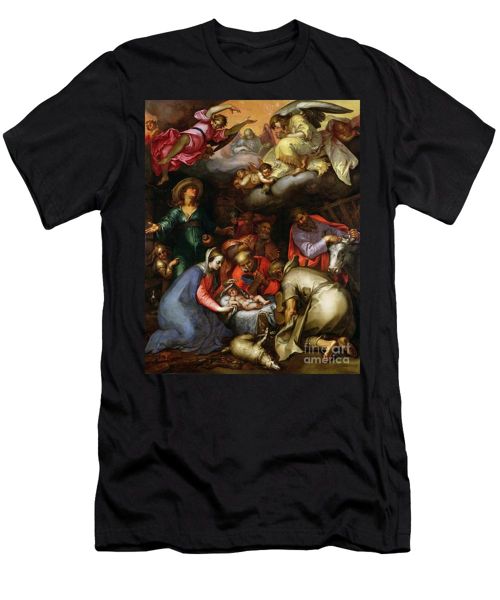 Adoration Of The Shepherds Men's T-Shirt (Athletic Fit) featuring the painting Adoration Of The Shepherds by Abraham Bloemaert