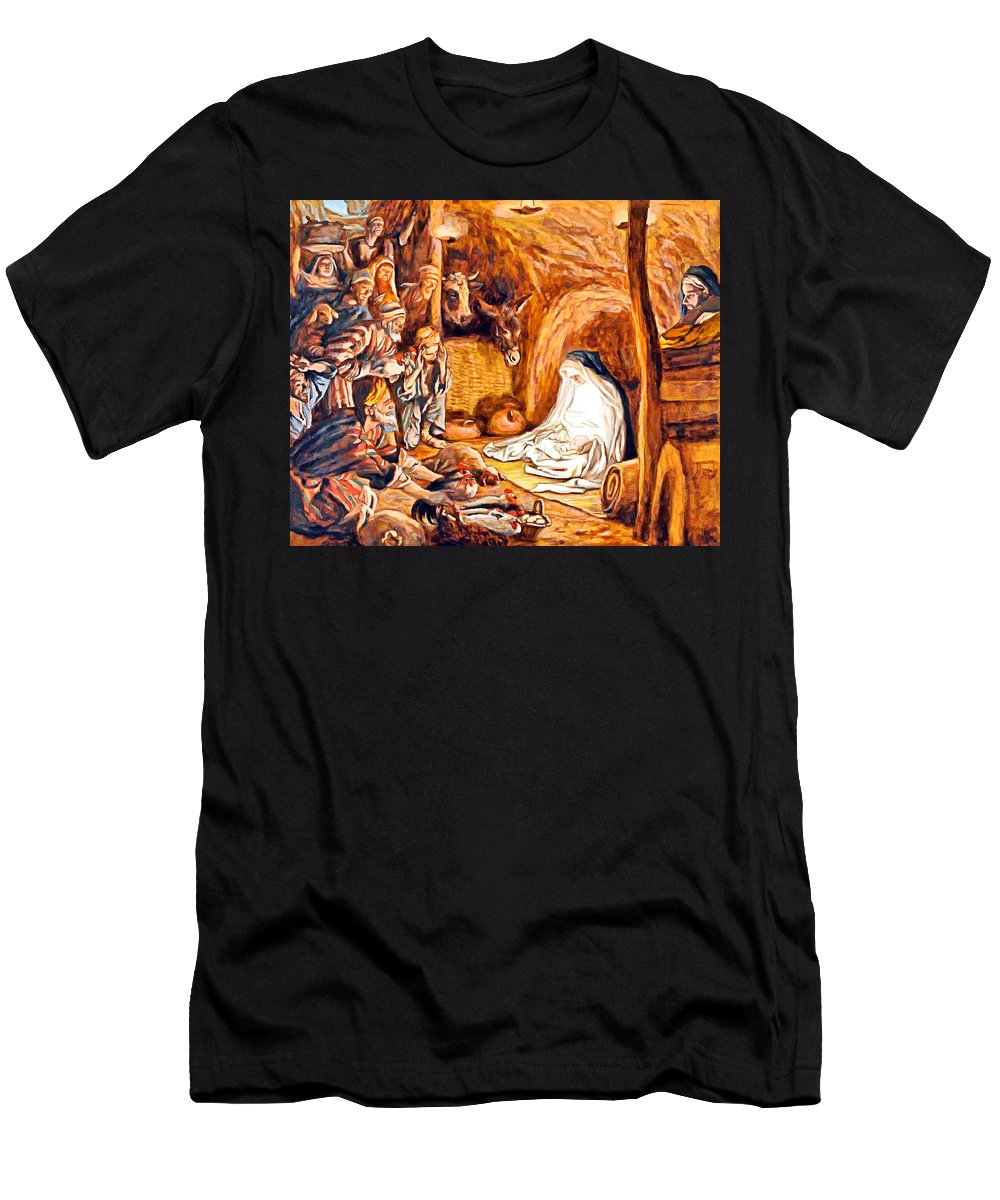 Adoration Men's T-Shirt (Athletic Fit) featuring the photograph Adoration Of The Shepherds Nativity by Munir Alawi