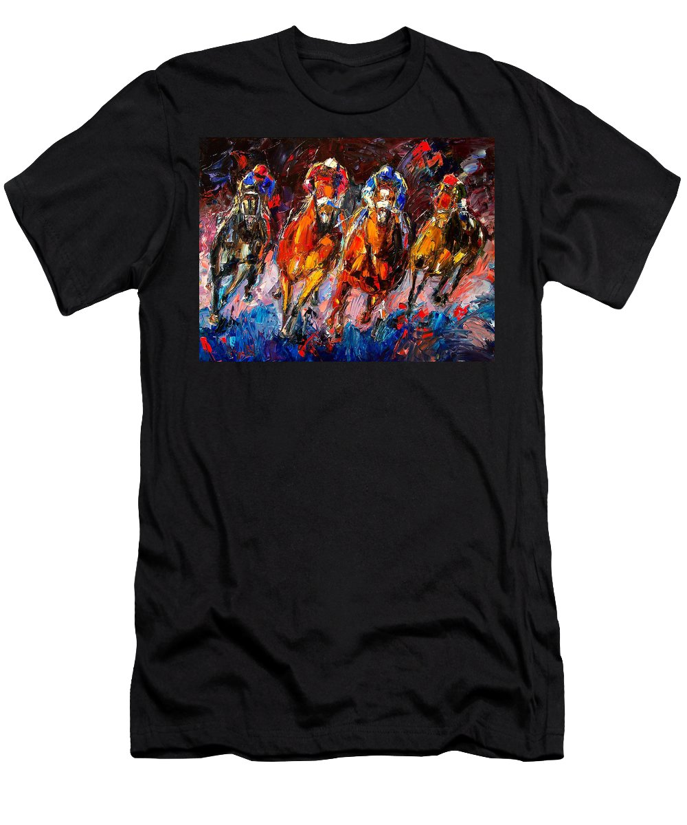 Horse Race T-Shirt featuring the painting Adrenaline by Debra Hurd