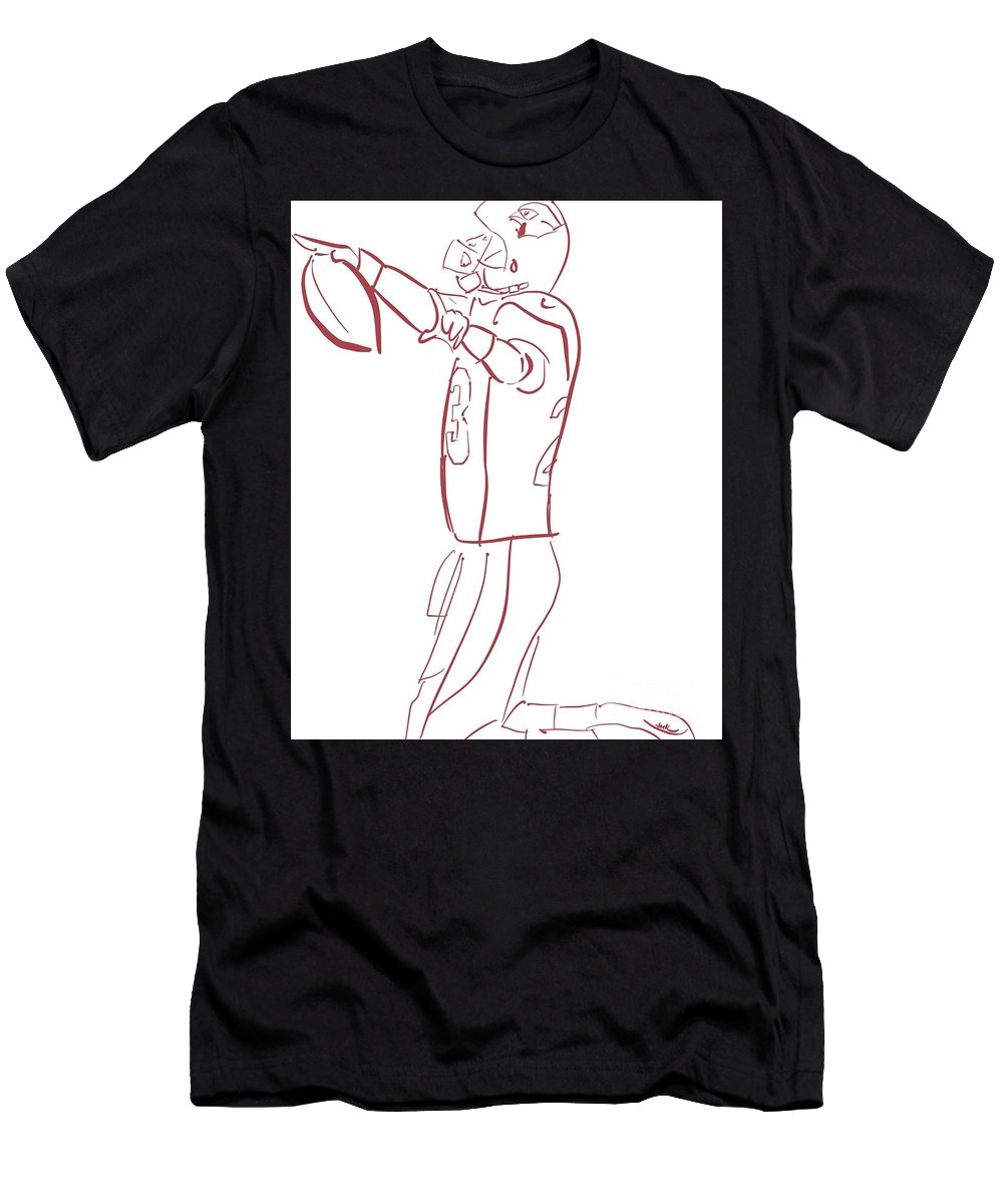 Ad Men's T-Shirt (Athletic Fit) featuring the painting Adrian Peterson Cardinals by Jack Bunds