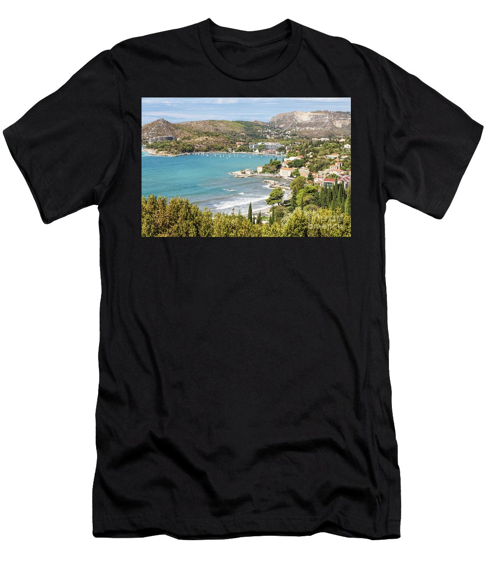 Coastline Men's T-Shirt (Athletic Fit) featuring the photograph Adriatic Coast In Croatia by Didier Marti