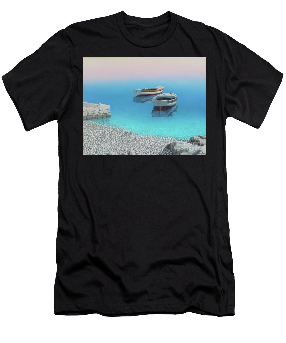 Realistic Marine Paintings Men's T-Shirt (Athletic Fit) featuring the painting Coastal Wall Art, Adriatic Paradise, Fishing Boat Paintings by Rinaldo Skalamera