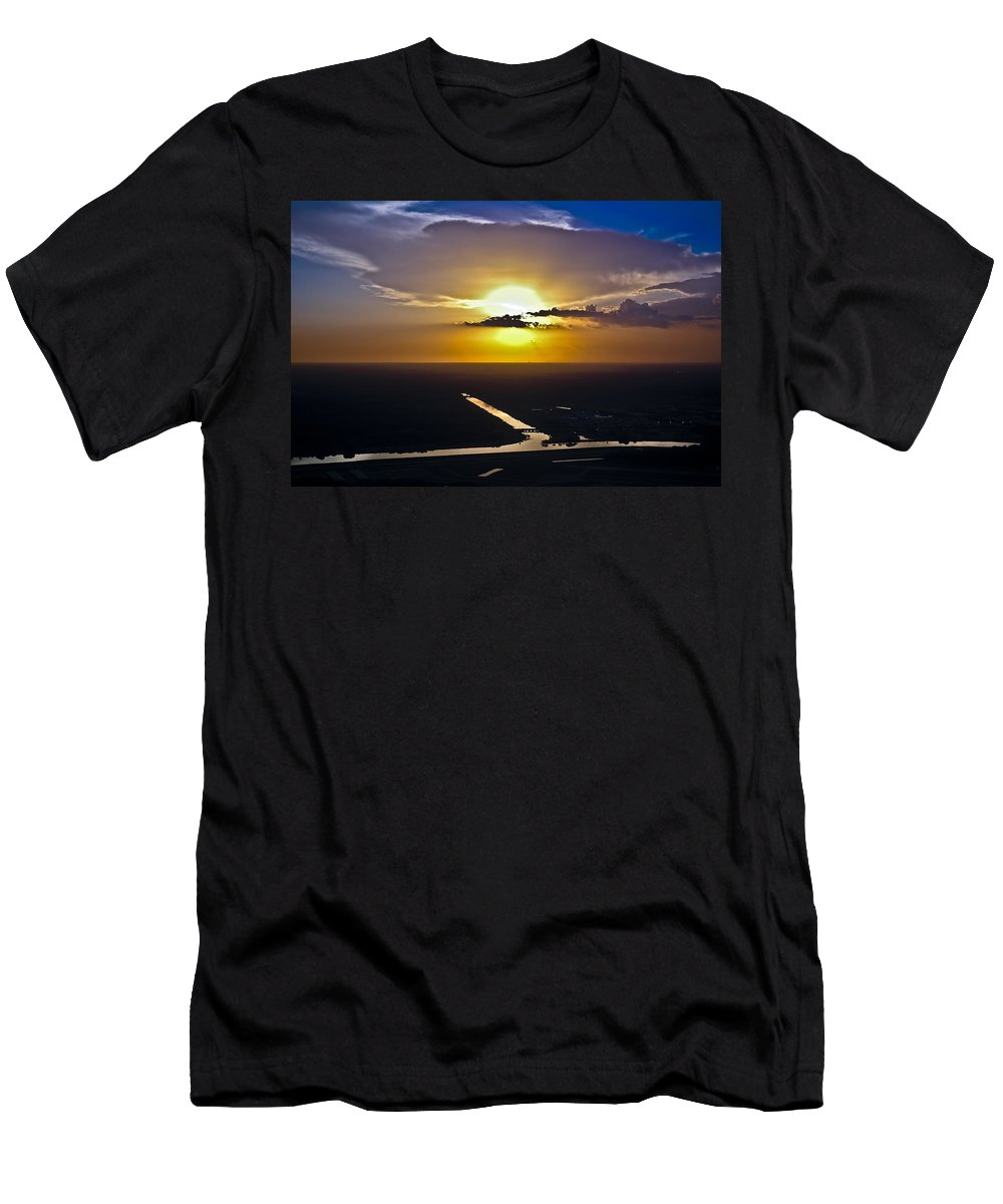 Aerial Men's T-Shirt (Athletic Fit) featuring the photograph Aerial Sunset Over Canal by Carolyn Marshall