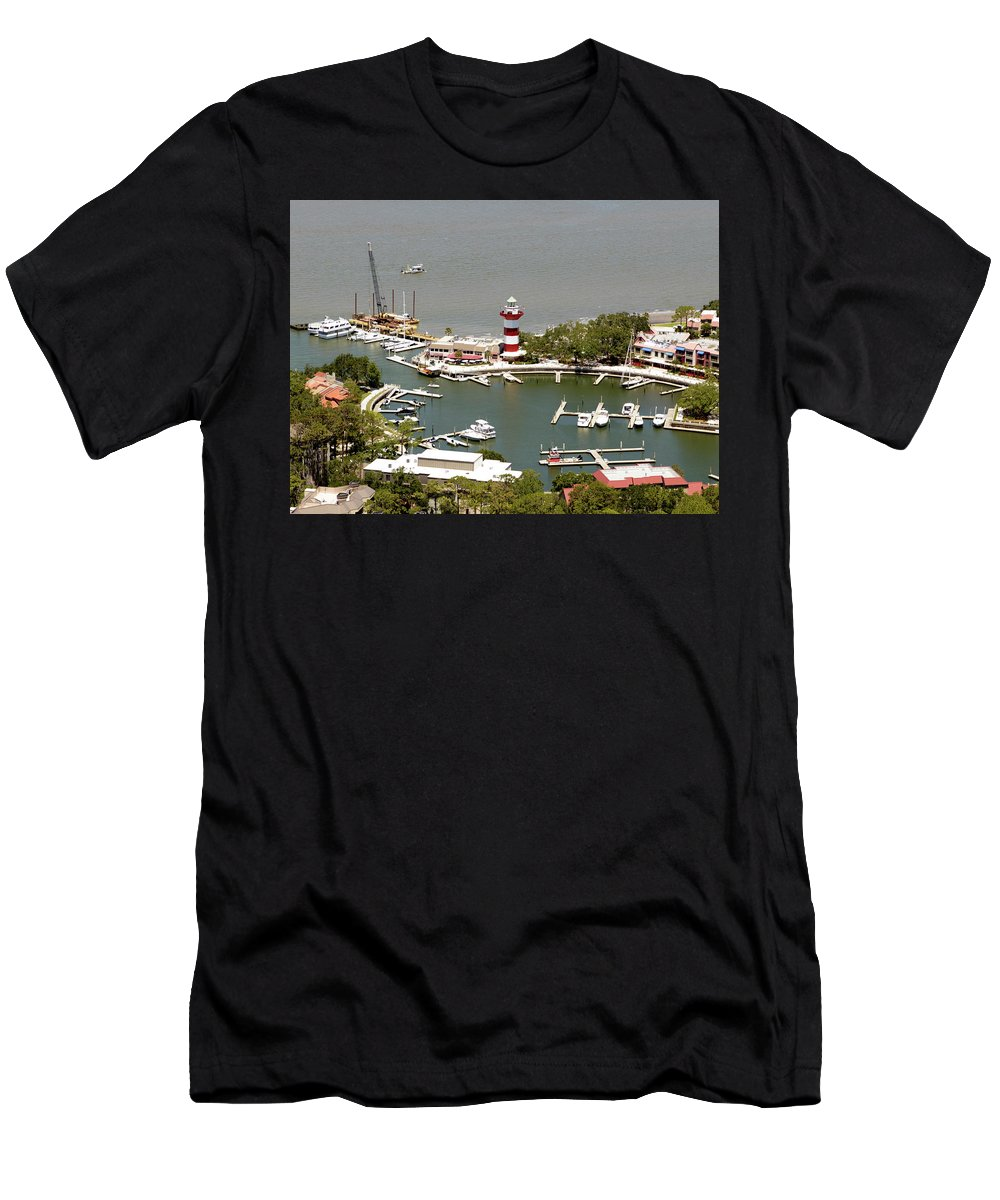 Aerial View Harbour Town Lighthouse In Hilton Head Island Men's T-Shirt (Athletic Fit) featuring the photograph Aerial View Harbour Town Lighthouse In Hilton Head Island by Carol Highsmith