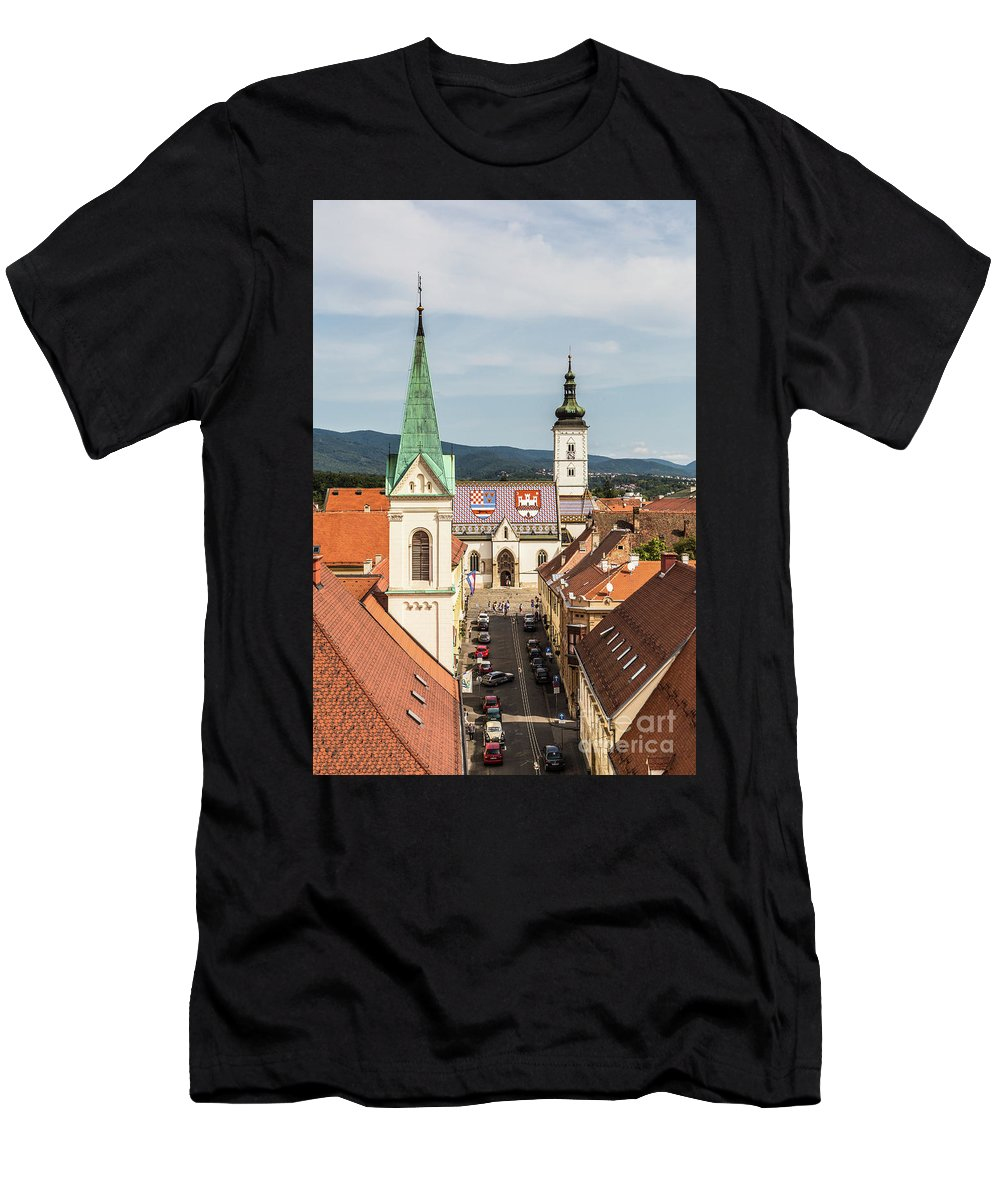 Balkans Men's T-Shirt (Athletic Fit) featuring the photograph Aerial View Of Zagreb In Croatia by Didier Marti