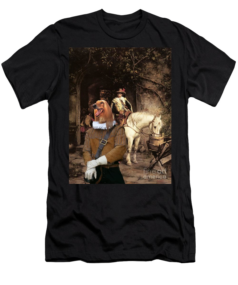 Afghan Hound Canvas Men's T-Shirt (Athletic Fit) featuring the painting Afghan Hound-at The Tavern Canvas Fine Art Print by Sandra Sij