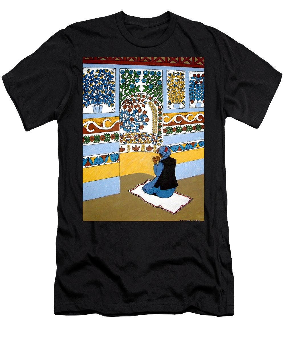 Mosque Men's T-Shirt (Athletic Fit) featuring the painting Afghan Mosque by Stephanie Moore