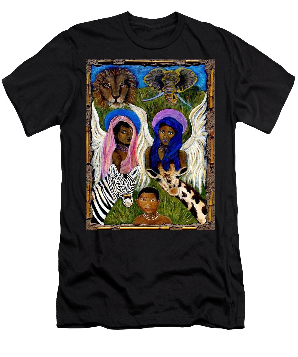 Angels Men's T-Shirt (Athletic Fit) featuring the painting African Angels by The Art With A Heart By Charlotte Phillips
