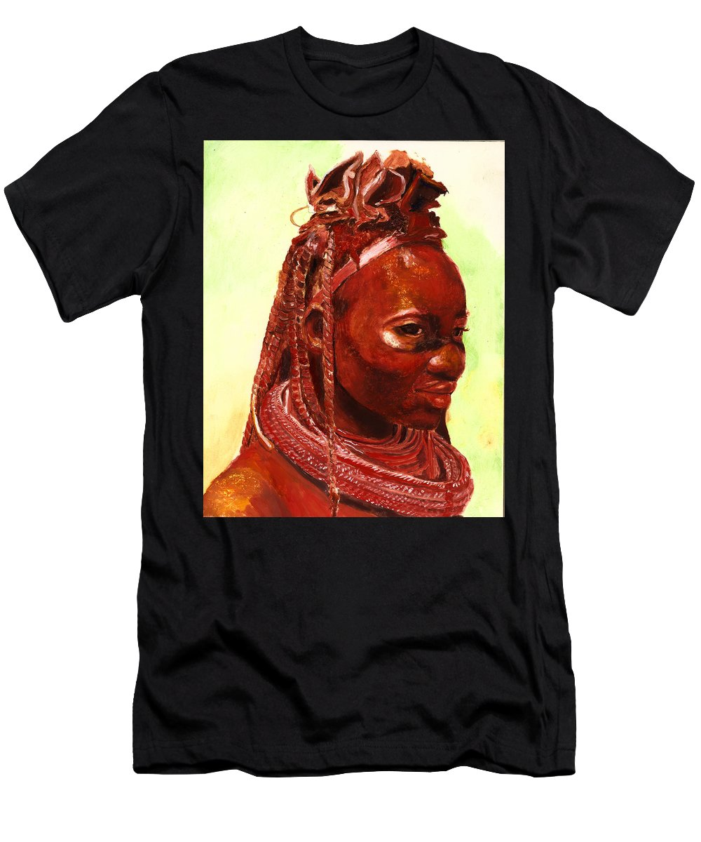 People Portrait Men's T-Shirt (Athletic Fit) featuring the painting African Beauty by Portraits By NC