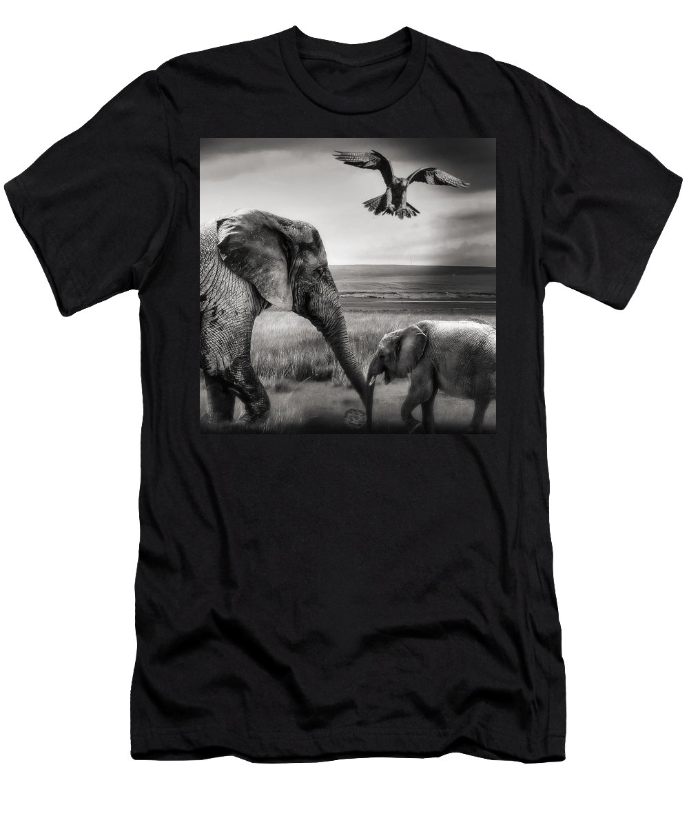 Baby Elephant Men's T-Shirt (Athletic Fit) featuring the photograph African Playground by Christine Sponchia